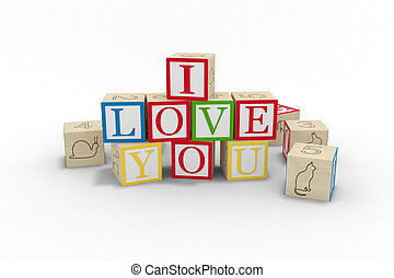 toy blocks spelling I love you