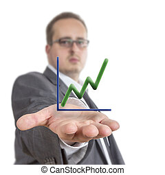 Business man holding stock graph - Business man reaches out...