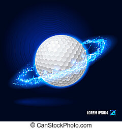 Golf high voltage - Realistic golf ball in blue flashes and...