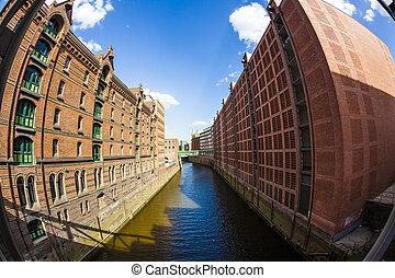 Speicherstadt (Warehouse district) in Hamburg, Germany -...