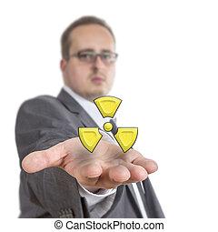 símbolo, radioactivo, empresa / negocio, tenencia, hombre