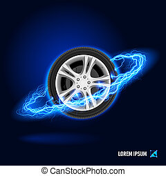 Speed high voltage - Car wheel in blue flashes and lighting...