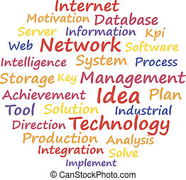 Network system management. Word cloud concept. Vector...