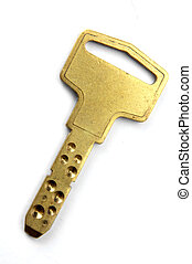 golden key - one golden key on white background