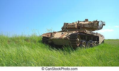 Rusty heavy tank near the Israeli Syrian border HDR photo