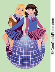 Back to School Two cute schoolgirls with book and globe ,...