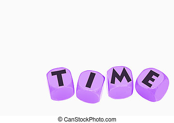 word TIME on cubes