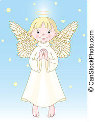Cute Angel - Cute praying angel dressed in white Gown. All...