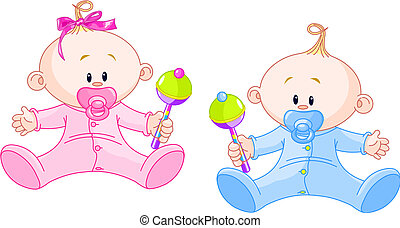Sweet twins - Twin Baby Boy and Girl playing with rattles