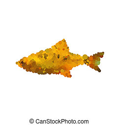 Illustration of abstract mosaic fish isolated on white backgroun