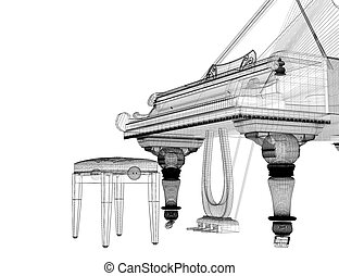 Antique grand Piano with path - Antique grand Piano with...