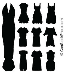 women's dress, - Black silhouettes of women's dress, vector