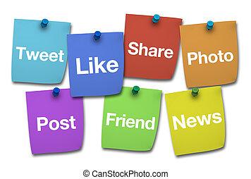 Social Media Signs On Postit - Social media, web and...