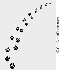 footprints of dogs 2 - Black footprints of dogs, turn right...