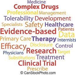 Evidence-based medicine word collage concept. Vector...