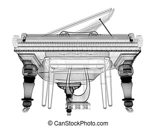 Antique grand Piano with path, 3D model body structure, wire...