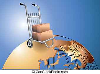 courier trolley with cargo on the planet
