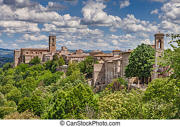 landscape of the medieval town Colle di Val dElsa, Tuscany,...