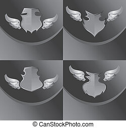 silver shield and wing art