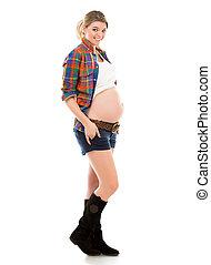 Pregnant woman on white