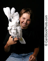 Young Child Holding an Excited Umbrella Cockatoo - Young...