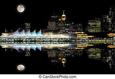 Night view of Vancouver downtown.