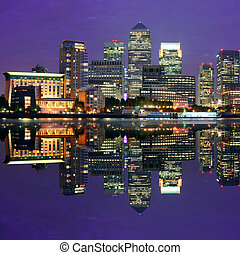 London Canary Wharf at night - Canary Wharf business...