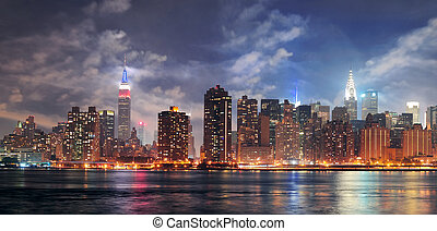New York City Manhattan midtown at dusk