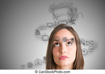 Stressed Out Woman - Young woman stressed with social media