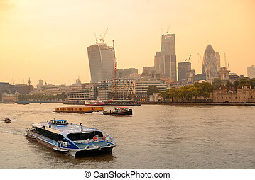 Thames River - LONDON, UK - SEP 27: A tourist boat in Thames...