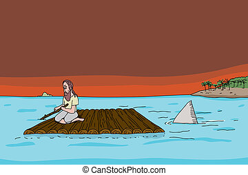 Shark Following Man on Raft