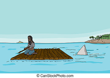 Shark Behind Man on Raft