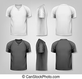 V-neck t-shirts with sample text space. Vector.