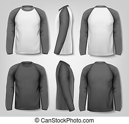 Black and white male long sleeved shirts with sample text....