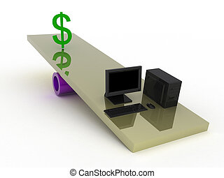 Balance - Black computer and dollar on a swing.