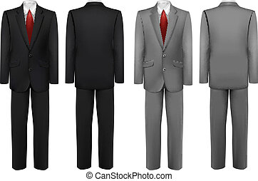 Set of black and grey suits. Vector.