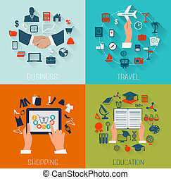 Set of flat design backgrounds for education, business,...