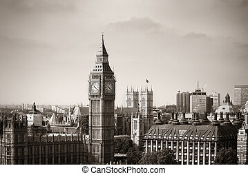 London Westminster with Big Ben and street