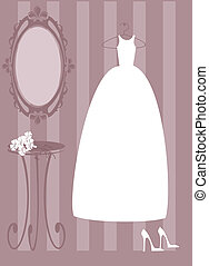 Vector illustration of bride dress
