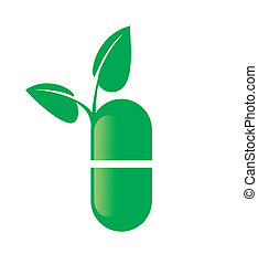 Capsule - Vector symbol of Naturopathic Medicine on white...