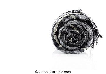 Scarf black plaid isolate