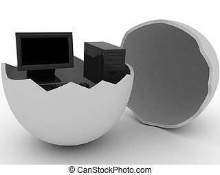 Black computer in egg - 3d render of black computer in egg