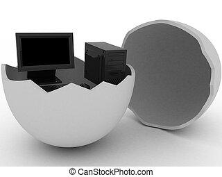Black computer in egg - 3d render of black computer in egg.