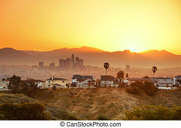 Los Angeles Sunrise - Los Angeles sunrise with mountain and...
