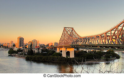 Story Bridge Brisbane - The iconic Story Bridge spanning the...