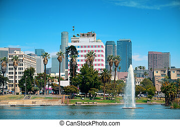 Los Angeles downtown view from park with urban architectures...