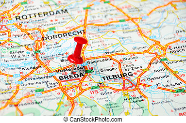 Breda,Holland map - Close up of Breda , Netherlands map with...
