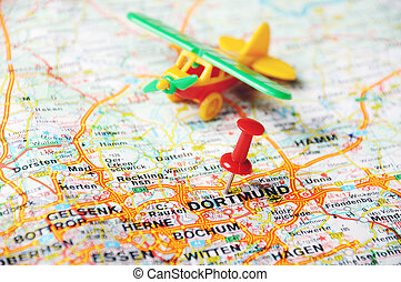 Dortmund , Germany map airplan - Close up of...