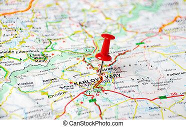Karlovy Vary, Czech Republic map - Close up of Karlovy Vary,...