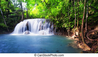 Tropical waterfall in Thailand, nature photography. Fresh water